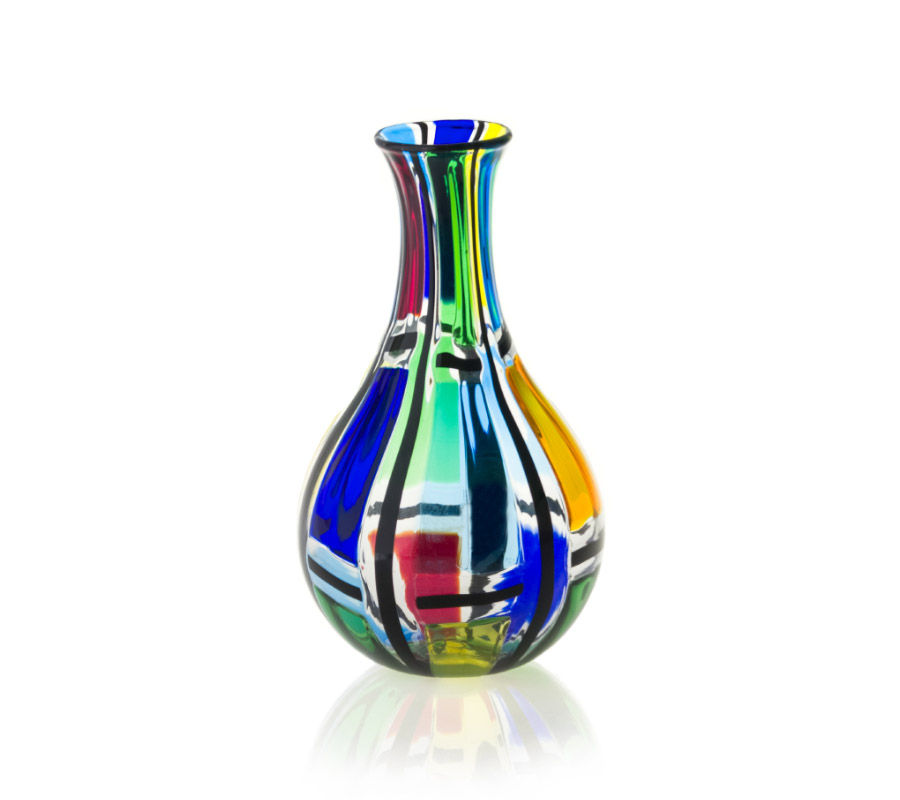 a glass vase carnevale style by angelo ballarin