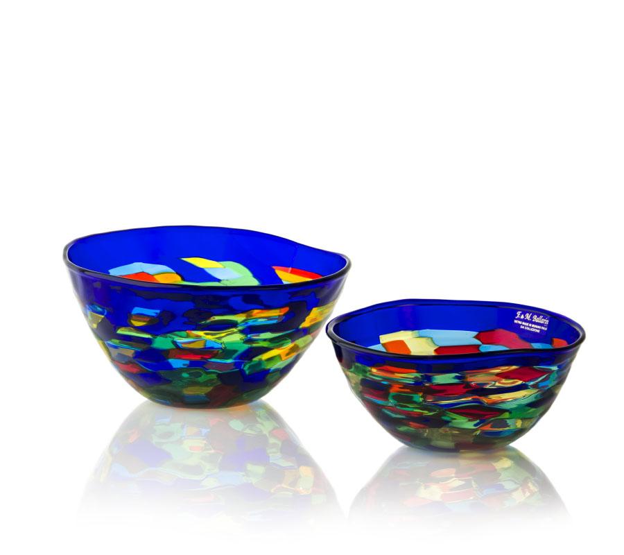 2 glass bowls arlequin design by angelo ballarin murano