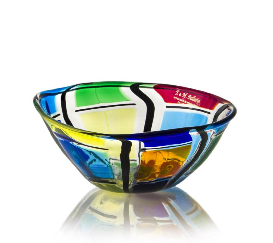a glass bowl made in murano by ballarin fm