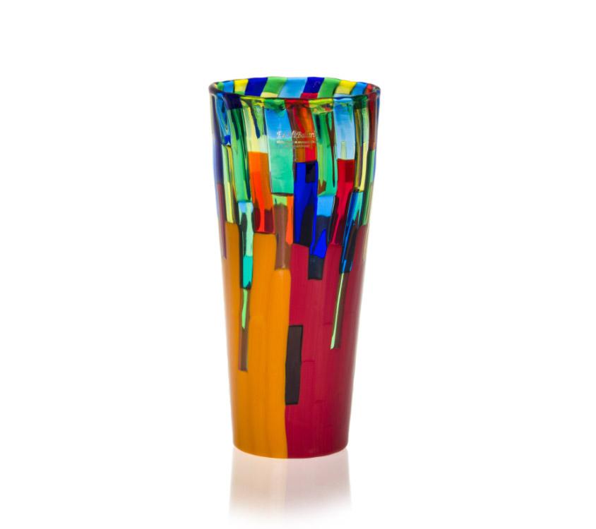 a glass conical vase fiori design