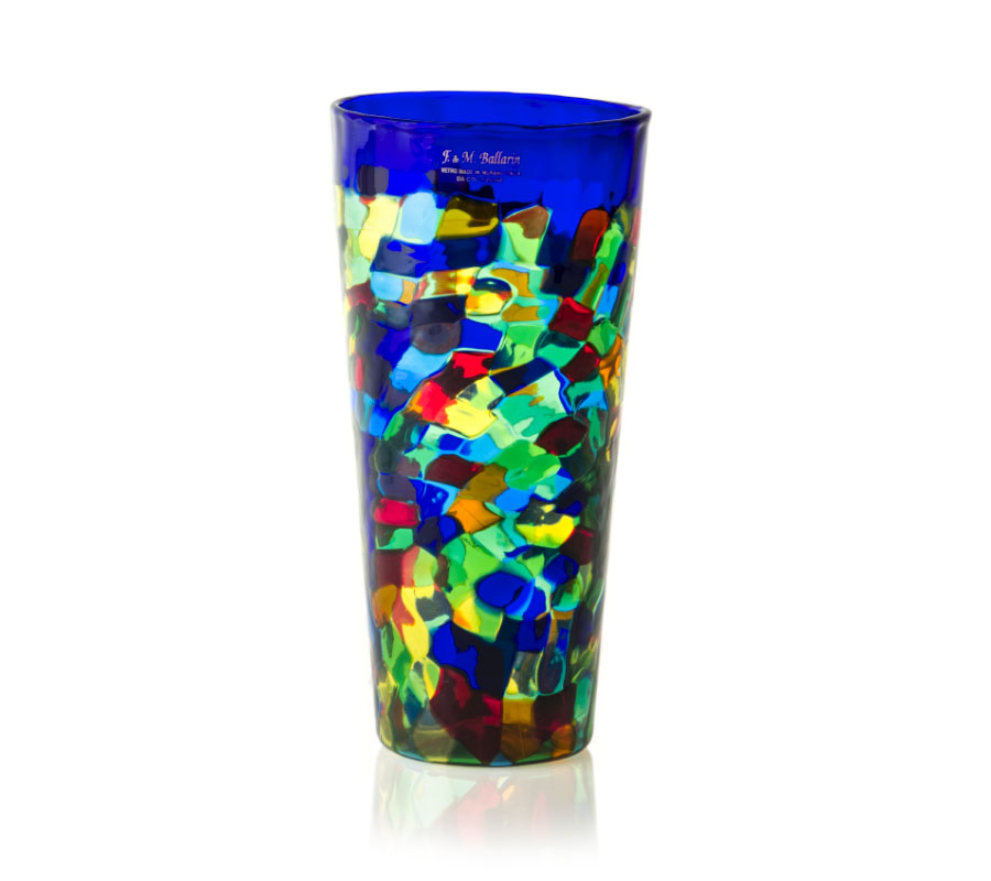 a glass vase by angelo ballarin murano