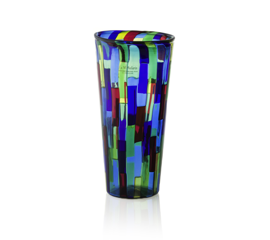 Conical murano glass vase acquamarina design
