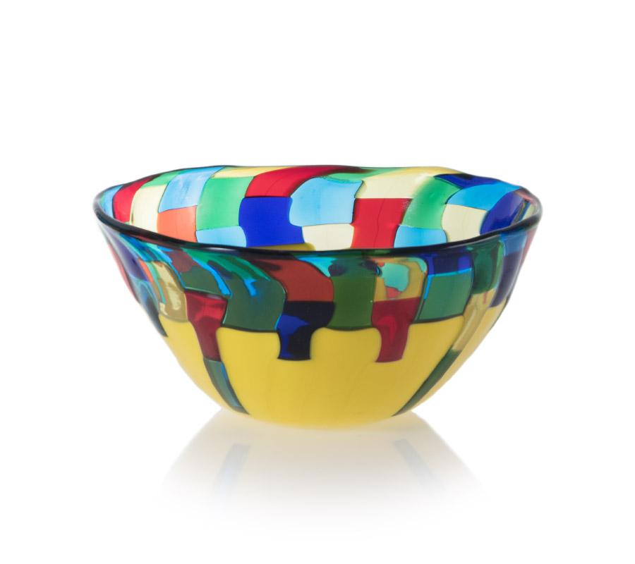 a glass bowl fiori style by ballarin murano