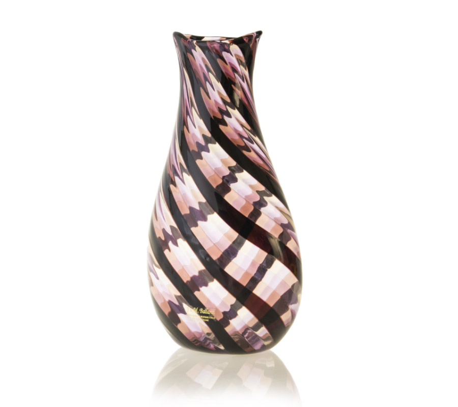 a murano glass vase pink and purple