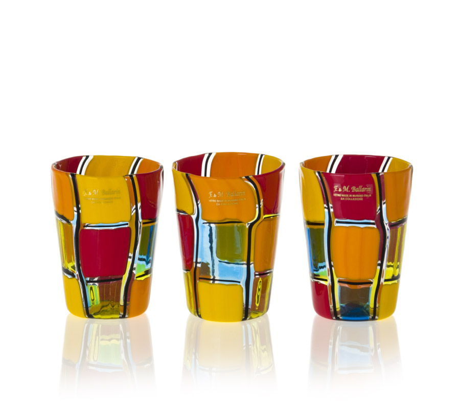 set of quadri glasses by angelo ballarin