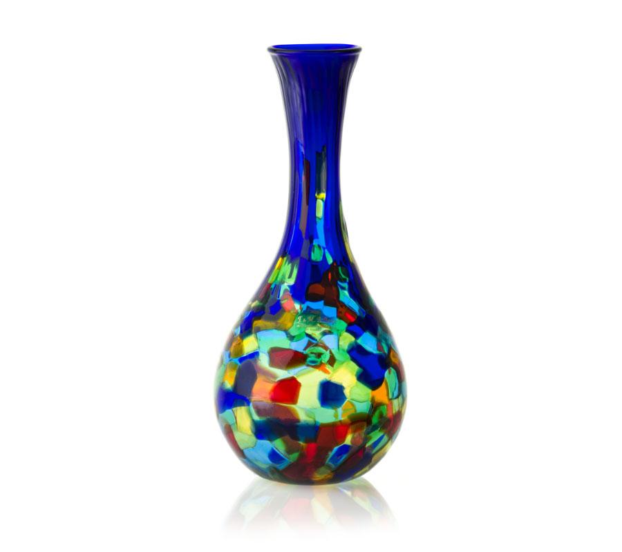 a glass vase patchwork handmade murano