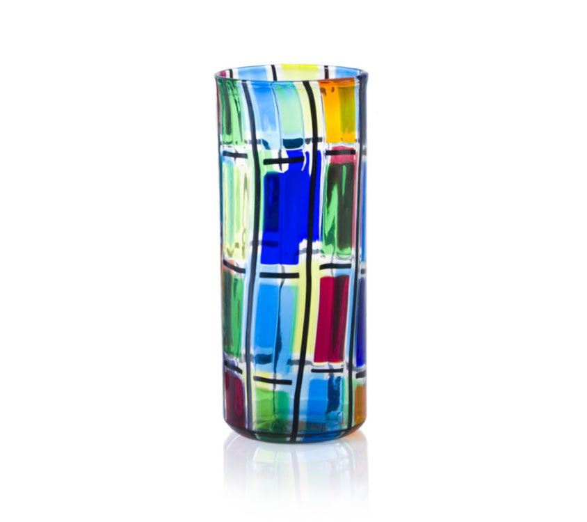 a cylindric glass vase from ballarin collection